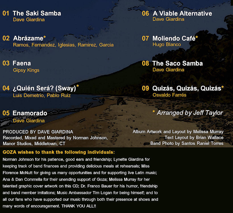 The back cover of Goza's self-titled CD