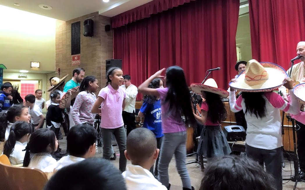 Goza Latin Band Performing an Educational Seminar at the Beginning with Children Charter School in Brooklyn, New York